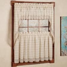 Cotton Classic Toast Window Pane Pattern and Crotchet Trim Tiers  Swags and Valance Options