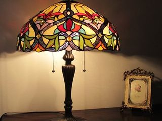 Tiffany Style Victorian Design 2 light Amber  Blue Stone Table lamp Retail 152 99
