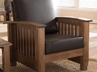 Baxton Studio Callidora Mission Dark Brown Faux leather Accent Chair