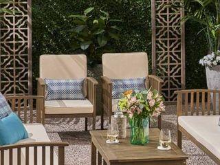Carolina Outdoor 2 Acacia Wood Chairs Conversational Set