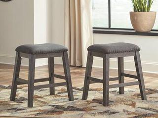 Caitbrook Upholstered Counter Height Bar Stool   Set of 2   Dark Gray