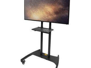 Kanto MTM82Pl Mobile TV Mount with Adjustable Shelf for 50  to 82  TVs  Black