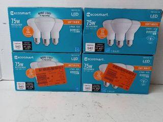 Ecosmart 75 watt Equiv Br20 Dimmable led light Bulb Soft White pack of 3 Qty 4