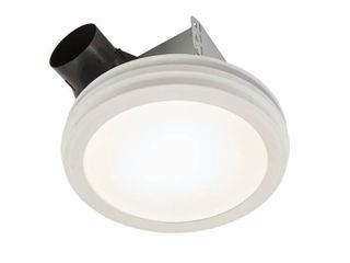Broan NuTone Roomside Series Decorative White 80 CFM Ceiling Bathroom Exhaust Fan with Round lED Panel and Beveled Frame ENERGY STAR