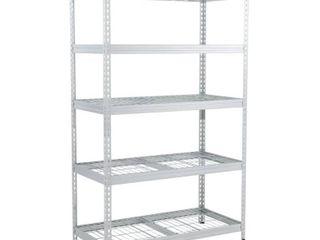 Husky Silver 5 Tier Riveted Steel Garage Storage Shelving Unit  48 in  W x 78 in  H x 24 in  D  gavanised