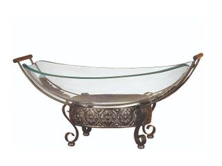 Deco 79 Glass Bowl Metal Stand  23 by 10 Inch