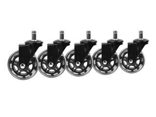 Slipstick 3  Floor Protecting Rollerblade Office Chair Wheels 7 16  Stem  Black  Set of 5