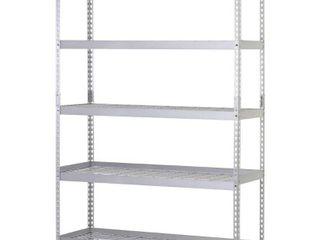 Husky 78 in  H x 48 in  W x 24 in  D 5 Shelf Steel Commercial Shelving Unit  Silver