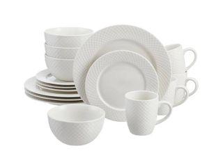 Home Decorators Collection leighton 16 Piece Textured White Stoneware Dinnerware Set  Service for 4