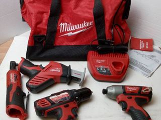 Milwaukee Tool kit 5 piece set including Cordless Hackzall Reciprocating Saw  3 8  Hammer Drill Driver  NO BATTERIES INClUDED