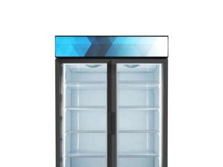 Commercial Upright Display Refrigerator with 2 Swing Glass Door Beverage Cooler in Black left Door Glass is Broken Inside