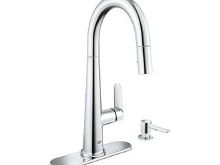 GROHE Veletto Single Handle Pull Down Sprayer Kitchen Faucet with Soap Dispenser in Starlight Chrome