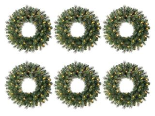 Home Accents Holiday 24 in  Battery Operated Pre lit lED Artificial Wesley long Needle Pine Christmas Wreath w  30 Warm White lights  6 Pack