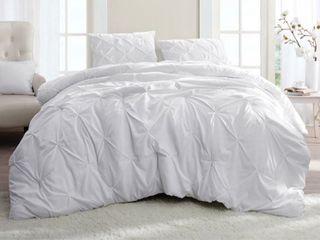 Pin Tuck Microfiber King Xl Comforter  White   Retail 131 97