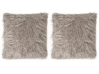 Mongolian Faux Fur 18 inch Throw Pillow Pair