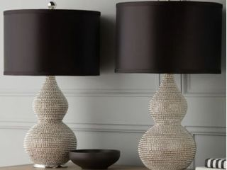 Silvertone Sea Urchin 26 inch Table lamp  Set of 2  By Abbyson   Retail 159 99