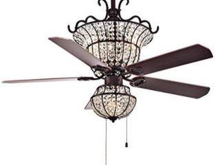 Warehouse of Tiffany Charla 4 light Crystal 52 Inch Crystal Chandelier Ceiling Fan