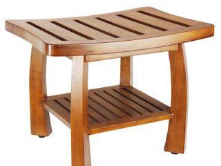 Oceanstar Solid Wood Spa Shower Bench with Storage Shelf  Retail 127 49