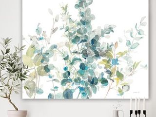 Designart  Eucalyptus Natural Element  Farmhouse Canvas Art   Blue