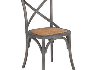 Poly and Bark Cafton Wood Rattan Crossback Chair  Set of 2 Ash Grey  Retail 299 99