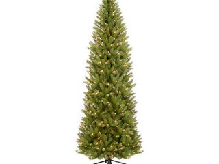 Puleo International 7 5Ft Pre lit Fraser Fir Pencil Tree Artificial Christmas Tree