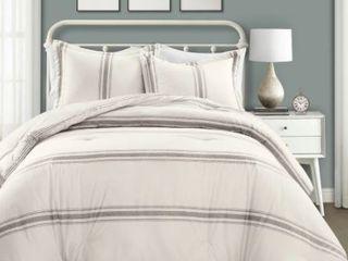 lush Decor Farmhouse Stripe 3 Piece Full Queen Comforter