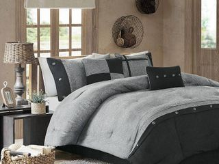 Powell Colorblock Comforter Set  King  Gray   7 Piece