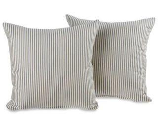 Ticking Stripe Black Decorative Throw Pillows  Set of 2