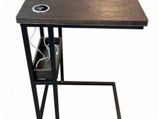 Bamboo Steel C Table with Tray and Wireless USB Charging Station  Brushed Brown Matte