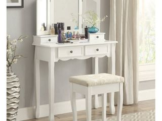 Roundhill Furniture Sanlo Wooden Vanity Make Up Table and Stool Set  White  Retail 217 95
