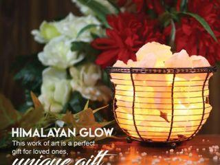 Himalayan Glow Stylish Basket lamp with Hand Curved Natural Salt Chunks   Pink