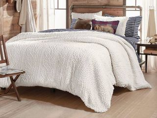G H  Bass Cable Knit Pinsonic Sherpa King Comforter Set  Retail 169 99