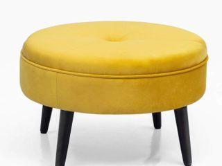 Carson Carrington Juttersbo Round Tufted Fabric Ottoman  Retail 77 48