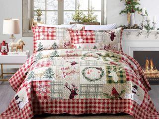 Rustic Patchwork Christmas Quilt King Bedspread Set