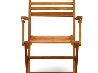 1 Chair  Solid Acacia Wood Outside Patio Folding Chair With Arm Rest  Retail 108 72