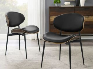 Set of 2   Black  Art leon Mid Century Bentwood Accent Upholstery Dining Chairs Missing One Back Of A Chair  Retail 278 99