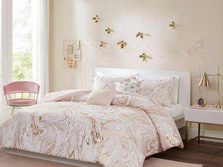 5pc Full Queen Vanessa Metallic Printed Comforter Set   Blush Gold