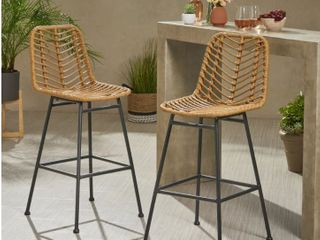 Sawtelle Outdoor Wicker Barstools  Set of 2  by Christopher Knight Home  Retail 233 99