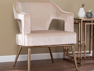 Silver Orchid Ellisten Contemporary Beige Fabric Accent Chair  Retail 324 99