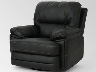 Black  Christopher Knight Home Elodie Bubba PU Faux leather Swivel Power Recliner  Retail 556 99