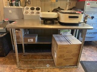 Stainless Steel Prep Table With New  10 Can Opener