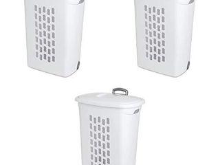 Sterilite 12228003 Ultra Wheeled Hamper  White lid   Base w  Plastic Handle   Wheels  3 Pack  All 3 HAVE CRACKS
