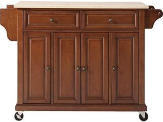 Crosley Furniture Full Size Kitchen Cart with Natural Wood Top  Cherry