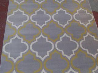 Modern Moroccan Trellis Grey Yellow Area Rug