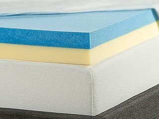 Zinus 4 Inch Gel Memory Foam Mattress Topper  Queen  Blue  SM OlB MGT 400Q