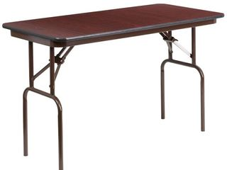 Flash Furniture 24  x 48  Rectangular Mahogany Melamine laminate Folding Banquet Table