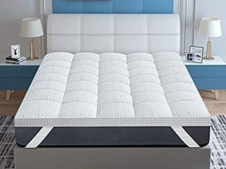 ASHOMElI Queen Mattress Topper Cooling Mattress Topper Pillow Top Construction Extra Deep Fits 8 22 Inches Bed Cover  White  Queen 60 x80