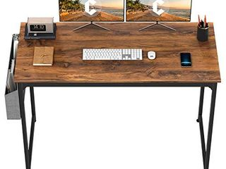 CubiCubi Study Computer Desk 47  Home Office Writing Small Desk  Modern Simple Style PC Table  Black Metal Frame  Deep Brown