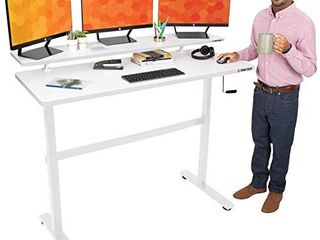 Stand Steady Tranzendesk 55 in Standing Desk w Clamp On Shelf   Easy Crank Height Adjustable Stand Up Workstation w Attachable Monitor Riser   Supports 3 Monitors   Adds Extra Desk Space  55 White