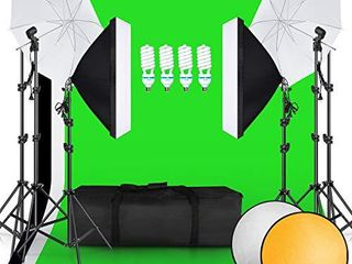 SH 2 6M x 3M 8 5ft x 10ft Background Support System and 4 x 85W 5500K Bulbs  Umbrellas Softbox Continuous lighting Kit for Photo Studio